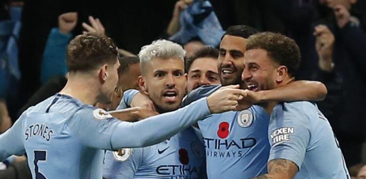 Sergio Aguero of Manchester City celebrates scoring the second goal during the Premier League match at the Etihad Stadium, Manchester. Picture date 11th November 2018. Picture credit should read: Andrew Yates/Sportimage PUBLICATIONxNOTxINxUK
