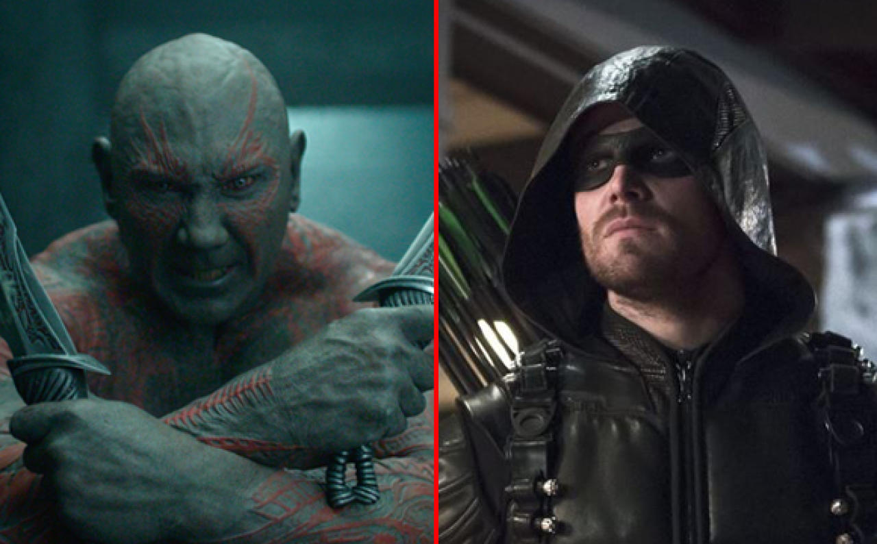Dave Bautista als Drax the Destroyer (li.) und Stephen Amell als Arrow